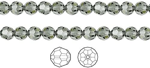 Swarovski 8mm Crystal Black Diamond AB  Faceted Round Beads #5000 12