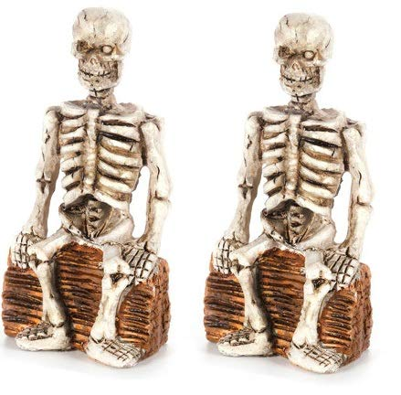 Set of Two (2) Halloween Skeleton Figurine Sitting on Logs - 3.2-inches - for Outdoor or House Decor, Dollhouses, Shadow Boxes, Fairy Gardens or Craft Projects - Bundle of -