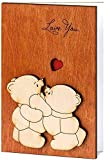 Handmade Real Wood Cute Love You Teddy Bears Card Best Novelty Wooden Sentimental Funny Present for Boyfriend Girlfriend Husband Wife Dear Friend or Dad for Father's Day from Him Son or Her Daughter