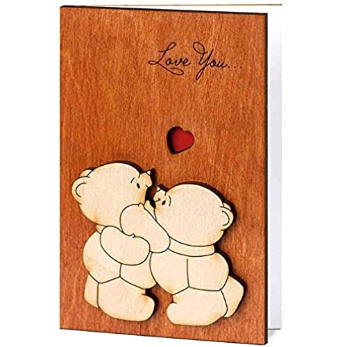 Handmade Real Wood Card Love You Teddy Bears Holiday Wooden Winter Keepsake Unusual Present Under the Tree for Him or Her Wife Husband Mother Father Family Sales