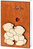 Handmade Real Wood Cute Love You Teddy Bears Funny Novelty Birthday Greeting Card for Mom Dad Best Friend Sentimental Original Valentine Miss U Wooden Fifth 5th Dating Wedding Anniversary Gift for Him Boyfriend Husband Fiance or Her Girlfriend Wife Fiancee Sweetheart Spouse Partner