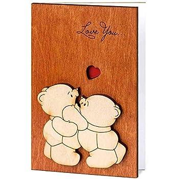 Amazon handmade real wood cute love you teddy bears funny handmade real wood cute love you teddy bears funny novelty birthday greeting card for mom dad m4hsunfo