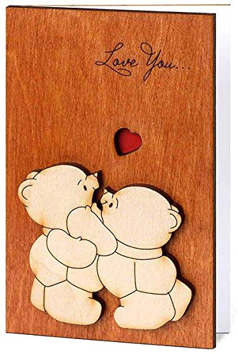 Handmade Real Wood Cute Love You Teddy Bears Best Novelty Wooden Valentines Day Valentine for Him Boyfriend Husband or Her Girlfriend Wife Financee or Original Unique Funny Birthday Greeting Card