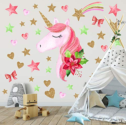 2 Pack 3D Wall Decor Sticker for Girls Kids Room Nursery Unicorn Wall Decals Waterproof Bedroom Decor Wall Art Bedroom Decor Unicorn Wall Stickers