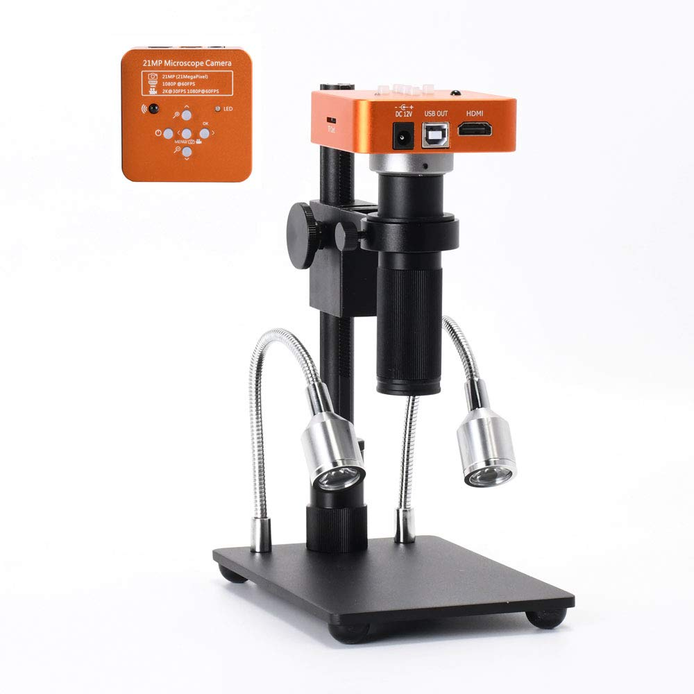 HAYEAR Full Set 21MP 2K 1080P 60FPS Full HD HDMI USB C-Mount Electronic Industry Microscope Camera Kit for PCB Repair Portable by HAYEAR