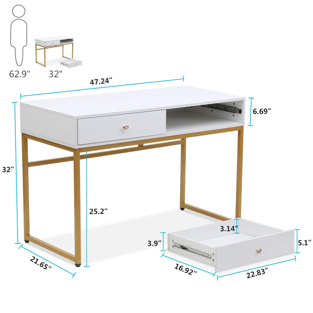 Tribesigns Computer Desk, Modern Simple Home Office Gold Desk Study Table Writing Desk Workstation with 2 Storage Drawers, Makeup Vanity Console Table (47 inch, White) by Tribesigns (Image #7)
