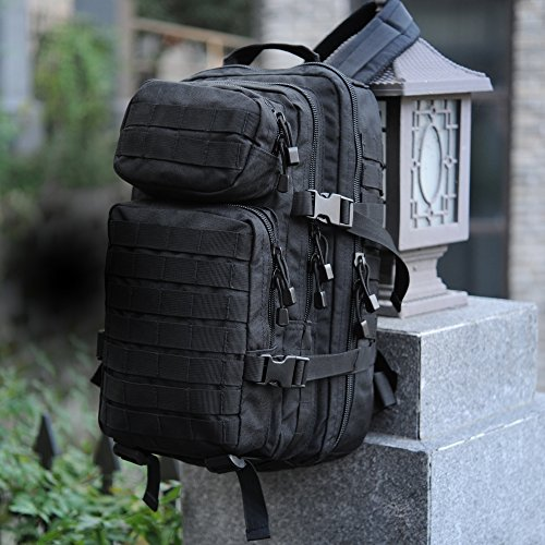 WIDEWAY Military Tactical Backpack 35L Survival Gear Backpacking Large Hydration Molle Bug Out Bag 3 Day Assault Pack Rucksacks Daypack for Outdoor Travel Hunting Camping Hiking Shooting Black
