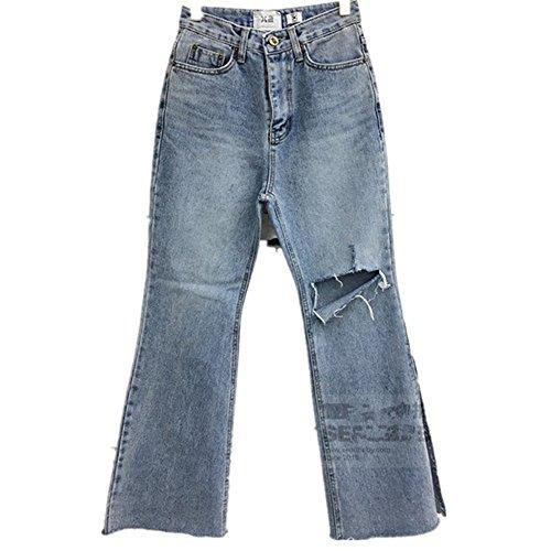 TYAYA Slim Jeans Wide Leg Split Hole Casual Trousers Zppier Street Wear (s)