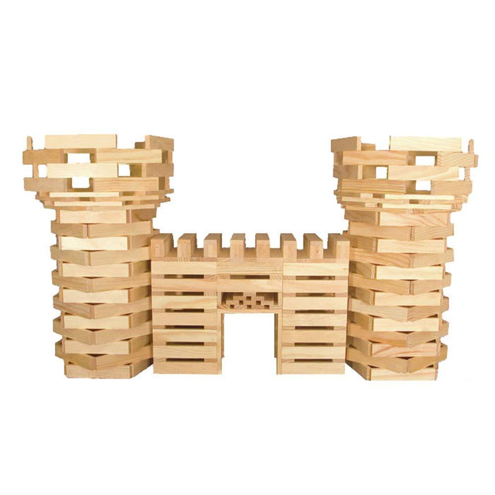Liergou Tout-Petits Set Building Block Enfants Éducatifs Éducatifs Early Education Building Blocks Pile De Bois Tower Building Blocks Couleur du Bois Massif Puzzle en Bois Combat Jouet 300 Pièces
