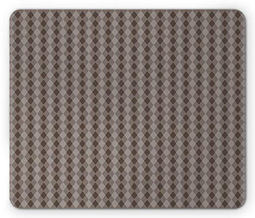 Strap Hyper Rubber (Grid Mouse Pad, Interlaced Zigzag Lines Forming Vertical Diamond Shaped Strap Pattern Print, Standard Size Rectangle Non-Slip Rubber Mousepad, White and Dark Taupe)