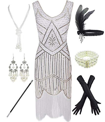 - 1920s Gatsby Sequin Fringed Paisley Flapper Dress with 20s Accessories Set (XL, White)