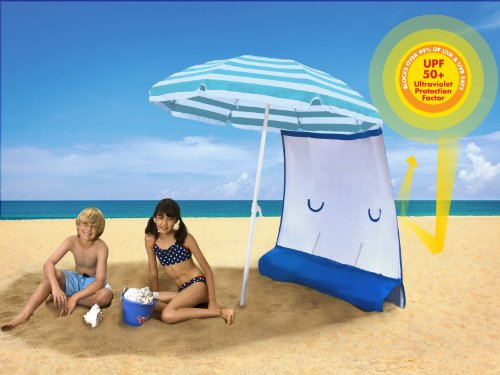 ezShade Sun Shield (Award Winning) – BLOCKS 99% UVA/UVB rays – DOUBLES shade, keeps you COOLER, and INSTANTLY ATTACHES to ANY nylon/poly umbrella – (only 9 OZ), Outdoor Stuffs