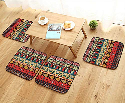 Wood Chair Arrow Natural (Leighhome Fillet Chair Cushion Decor Classic Traditional Aztec Pattern Image with Bird Flower Arrow Natural Ethnic Decor Suitable for The Chair W13.5 x L13.5/4PCS Set)