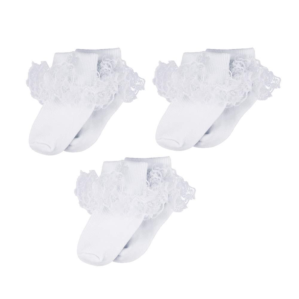 Infant Baby Boys Girls Turn Cuff Cotton Baptism Christening White Embroidered Cross Socks