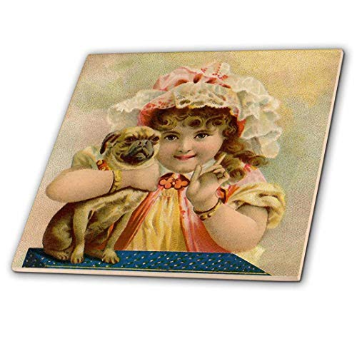 (3dRose ct_212612_1 Print of Victorian Girl Holding Pug Doggie Ceramic Tile, 4