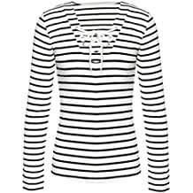 2018 Women Stripe Blouse Long Sleeve Tops Casual T-Shirt by TOPUNDER