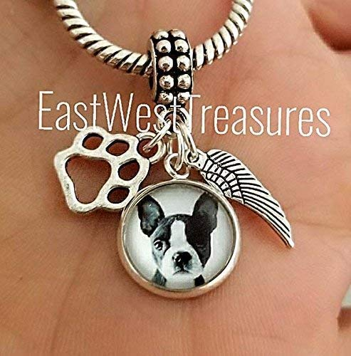 Terrier Jewelry - Custom Boston Terrier dog photo charm bracelet and necklace and keychain-Boston terrier Jewelry gifts