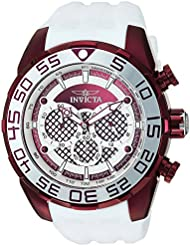 Invicta Mens Speedway Quartz Stainless Steel and Silicone Casual Watch, Color:White (Model: 26312)
