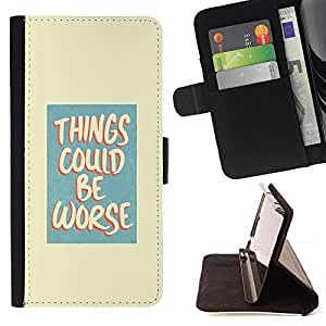 DEVIL CASE - FOR Apple Iphone 5 / 5S - Positive Attitude Life Motivational Quote Worse - Style PU Leather Case Wallet Flip Stand Flap Closure Cover