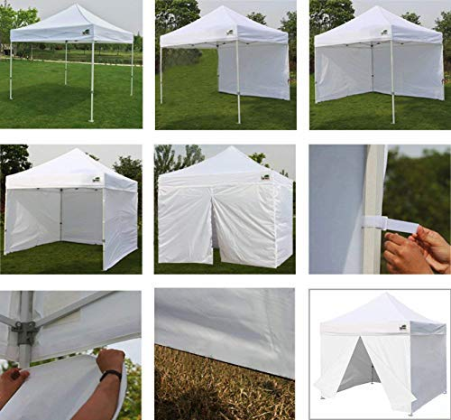 Eurmax 10×10 Ez Pop up Canopy, Commercial Party Tent, Outdoor Shelter with 4 Zippered Sidewalls and Roller Bag (White)