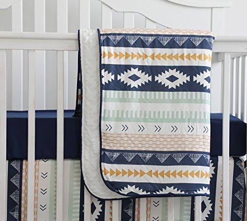 Baby Boy Crib Bedding Arizona Woodland Tribal Aztec Buck Nursery Crib Skirt Set Minky Blanket Navy Crib Sheet Crib Rail Bedding Set (Navy Aztec Buck, 3 pieces set)