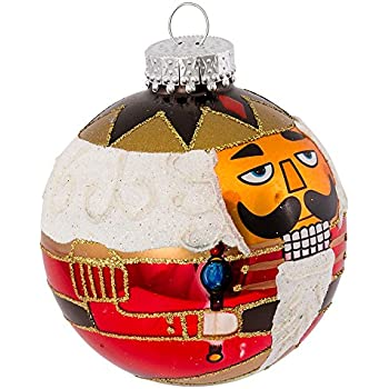 Kurt Adler Nutcracker Design Glass Ball Ornament, 80mm