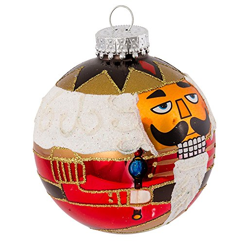 Kurt Adler Nutcracker Design Glass Ball Ornament, 80mm by Kurt Adler