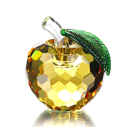 Art Glass Apple (H&D Crystal Apple Paperweight Art Glass Apple Collectible Figurines Golden Apple)