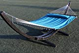 G3Elite 14' Wooden Arc Hammock Stand With Double Wide Quilted Padded Bed w/Matching Pillow, Smooth Wood Water Treated Stain Finish, Strong Durable, Holds 450 lbs (14', Black w/Teal Bed)