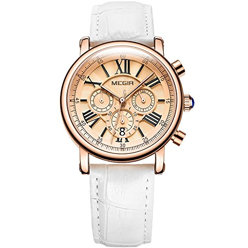 Wrist Watches for Women White Leather Strap Waterproof 24 Hours Chronograph Stopwatch for Lady ()