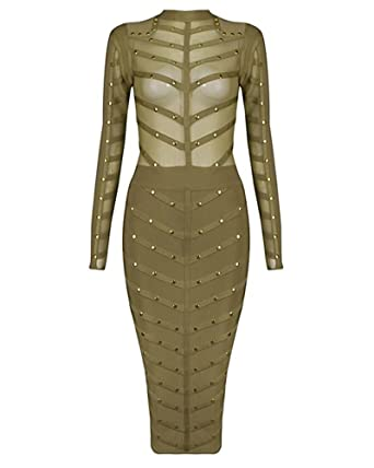 Whoinshop Damen Langarm Bodycon Kleid Studded Bandage PartyKleid mit ...