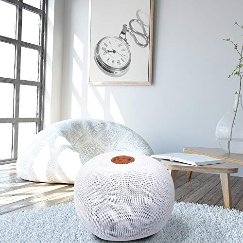 Larimar Hand Knitted Cotton Ottoman Pouf, Hand Knit Modern Floor Pouf Round Footstool, Pouffe seat for Living Room, Bedroom, Nursery, Kids Room, Patio, 100% Cotton Braid Cord,White Pouf