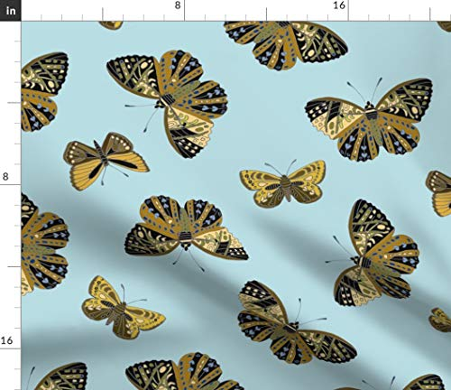 Butterflies Flying Spring Fabric - Flutterflies Allover Nature Blue Home Decor Browns Insects Outdoor Woodland Print on Fabric by The Yard - Minky for Sewing Baby Blankets Quilt Backing Plush Toys]()