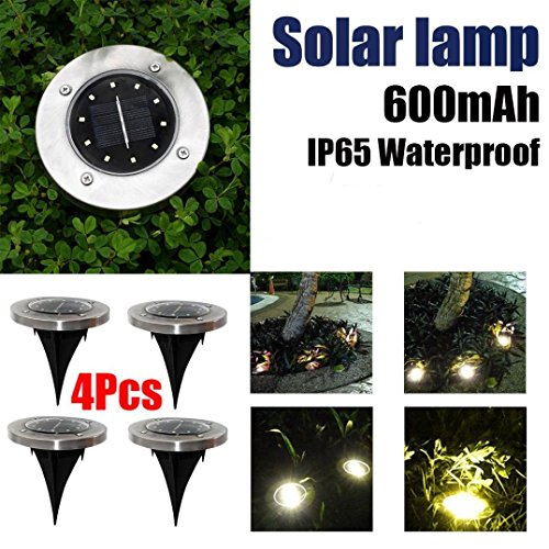 Lljin 4PCS Solar Power Light Under Ground With 10LED Lamp Outdoor Path Garden Decking