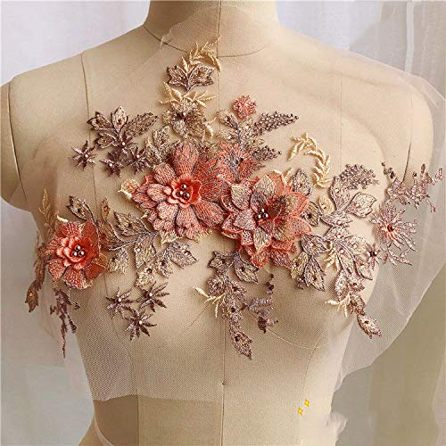 3D Embroidery Lace Flower Bridal Applique Pearl Beaded Tulle DIY Wedding Dress (Color - Orange)