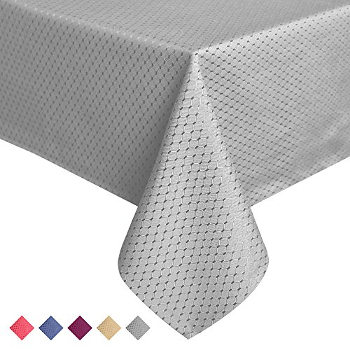 ColorBird Elegant Waffle Jacquard Tablecloth Waterproof Table Cover for Kitchen Dinning Tabletop Decor (Rectangle/Oblong, 60 x 102 Inch, Grey)