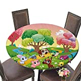 kitchen 67 bistro PINAFORE Premium Tablecloth Funny Animals in The Magic Wood Everyday Use 63