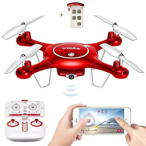 Syma X5UW WiFi UFO FPV Drone with HD Camera +BONUS BATTERY 2.4G 6 Axis Gyro RTF RC Headless Quadcopter with Flight Plan & APP Control by TIME4DEAL