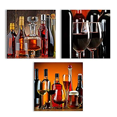 Canvas Wall Art Abstract Vintage Wine Cup Pictures Home Wall Decorations for Kitchen Streched and Framed - 24
