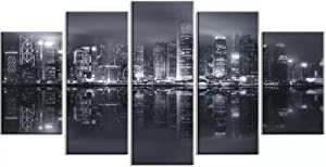 5 Panel Wall Art Home Decor Hong Kong Skyline Poster Print Pictures Paintings on Canvas 5 Piece (150x80cm Giclee HD Paintings Print Framed Easy to Hang