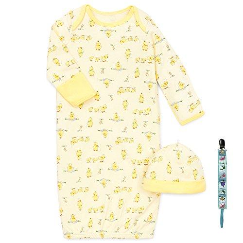 Little Me Unisex Layette Boy Girl Yellow Duck Newborn Gown Hat Tether 0-3 Mths