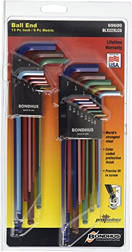 Ball End L-wrench - Bondhus 69600 Ball End Double Pack L-Wrench Set with ColorGuard, 13 Piece