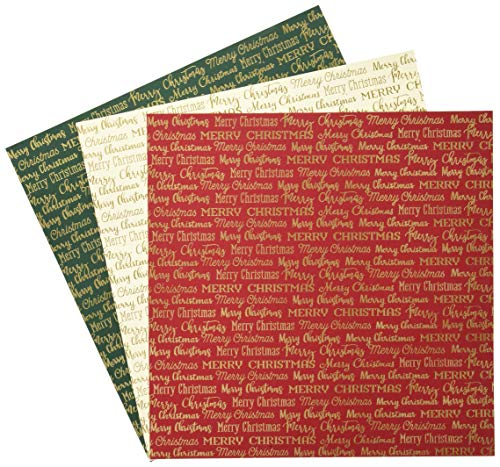 Carta Bella Paper Company CBFME004 Merry Christmas Words Foil Collection Kit Paper, red, Green, Navy, Gold