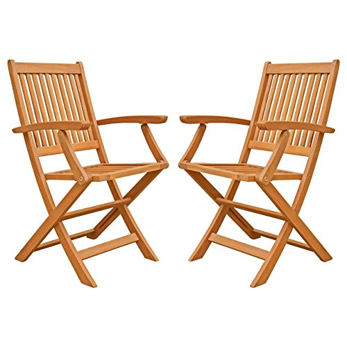 LuuNguyen Win Outdoor Hardwood Folding Arm Chair, Natural Wood Finish, Set of (Natural Wood Folding Chair)