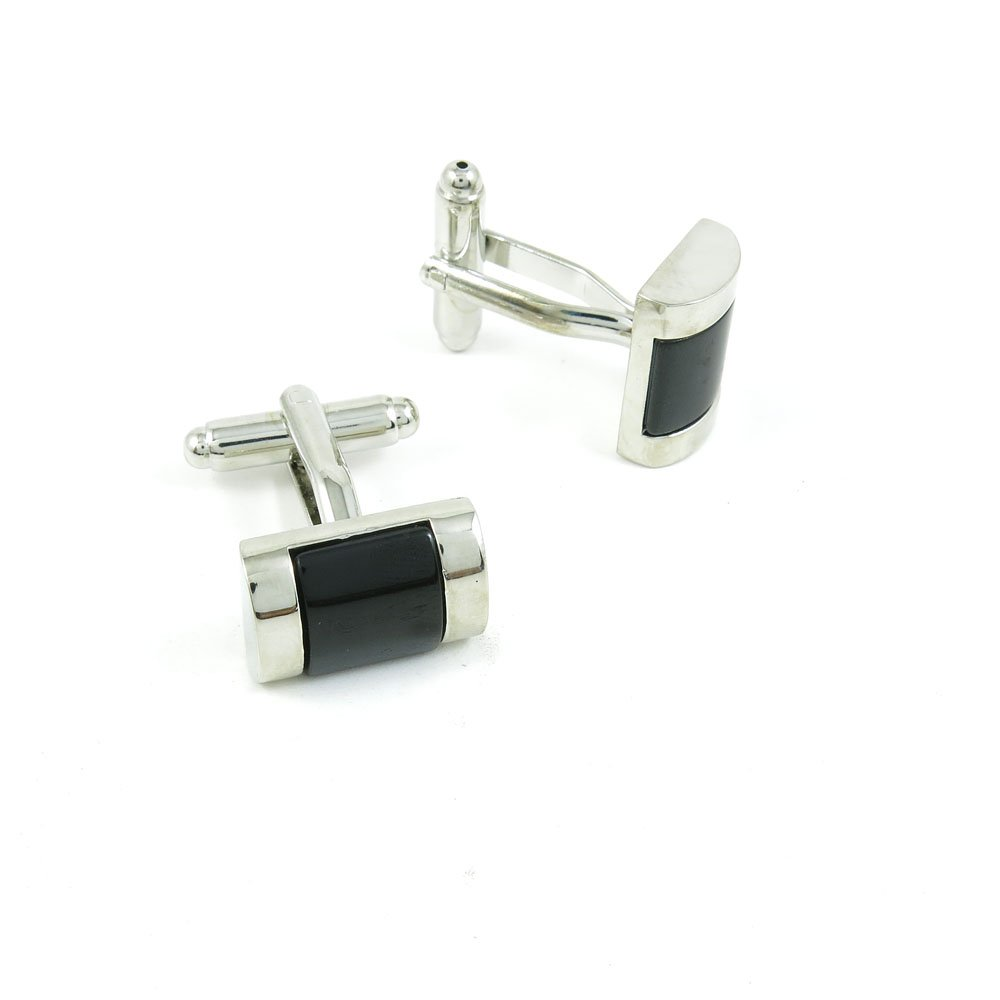50 Pairs Cufflinks Cuff Links Fashion Mens Boys Jewelry Wedding Party Favors Gift FVJ074 Black Agate by Fulllove Jewelry