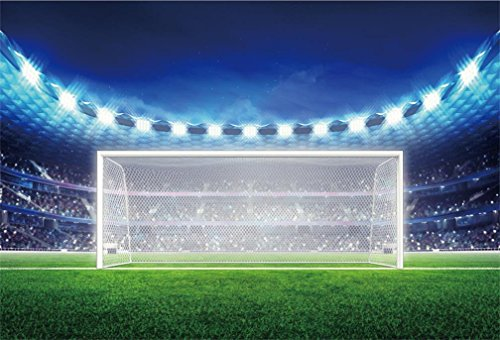 AOFOTO 6x4ft Soccer Field Background Football Pitch Goal Post Ball Game Stadium Spotlight Photography Backdrop Lawn Sports Club Fitness Player School Match Photo Studio Props Kid Boy Event Wallpaper