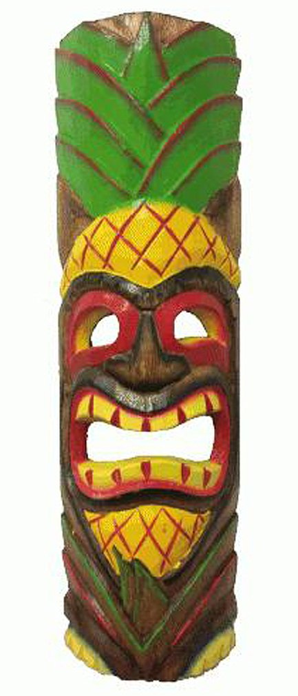 20'' Painted Wood Hawaiian Pineapple Head Tiki Mask