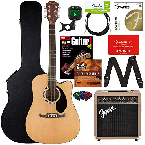 Fender FA-125CE Acoustic-Electric Guitar Bundle with Acoustasonic Amp, Case, Cable, Strap, Strings, Tuner, Picks, Fender Play Online Lessons, Instructional Book, and Austin Bazaar Instructional DVD