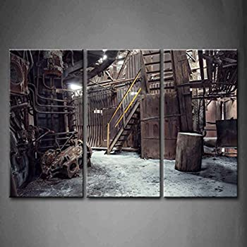 Superbe First Wall Art   3 Panel Wall Art Abandoned Factory Industrial Background  Machine Messy Painting The