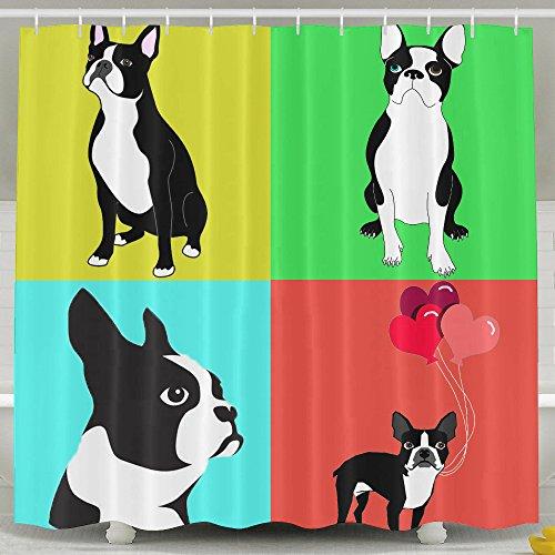 Cute Dogs Boston Terrier With Balloon Bath Shower Curtain Fabric Bathroom Curtain Set With Hooks